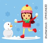 girl and snowman cartoon | Shutterstock .eps vector #194414630