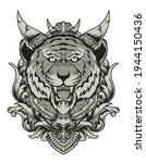 angry tiger head with vintage... | Shutterstock .eps vector #1944150436