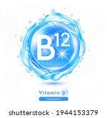 vitamin b12 icon. shining blue... | Shutterstock .eps vector #1944153379