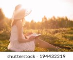 Girl In Dress Reading Book....