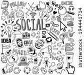 hand drawn social symbols  | Shutterstock .eps vector #194441714
