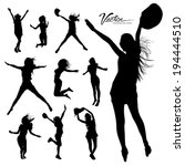 silhouette people jumping and... | Shutterstock .eps vector #194444510