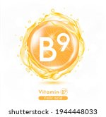 vitamin b9  orange shining pill ... | Shutterstock .eps vector #1944448033