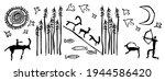 drawings of primitive people.... | Shutterstock .eps vector #1944586420
