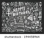 doodle birthday party background | Shutterstock .eps vector #194458964