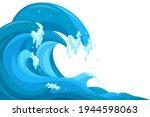 Tsunami Waves Background. Flood ...