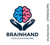 brain hand vector logo template.... | Shutterstock .eps vector #1944646396