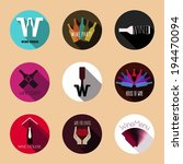 wine flat icons. vintage...   Shutterstock .eps vector #194470094