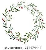 watercolor  berries  wreath | Shutterstock .eps vector #194474444