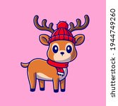 Cute Baby Deer Cartoon Vector...