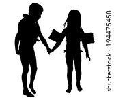 vector silhouette of children... | Shutterstock .eps vector #194475458
