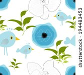 blue flowers and birds over... | Shutterstock .eps vector #194483453