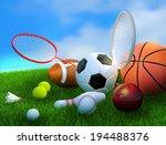 assorted sports equipment... | Shutterstock . vector #194488376