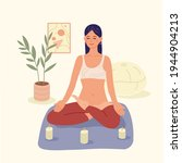 meditation. a young girl with...   Shutterstock .eps vector #1944904213