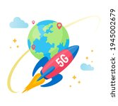 fast rocket with flame moving... | Shutterstock .eps vector #1945002679