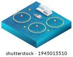 isometric fish farm. producing...   Shutterstock .eps vector #1945015510