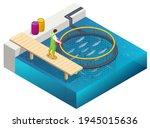 isometric fish farm. producing... | Shutterstock .eps vector #1945015636