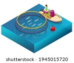 isometric fish farm. producing... | Shutterstock .eps vector #1945015720