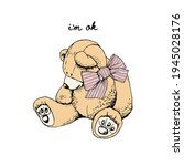 toy teddy bear with the striped ... | Shutterstock .eps vector #1945028176