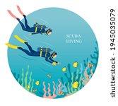 couple scuba diving in... | Shutterstock .eps vector #1945035079