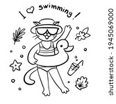 i love swimming  linear vector... | Shutterstock .eps vector #1945069000