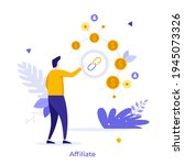 man pointing at dollar coin... | Shutterstock .eps vector #1945073326
