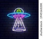 aliens spaceship neon sign...   Shutterstock .eps vector #1945163200
