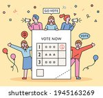 people are holding an election... | Shutterstock .eps vector #1945163269