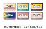 retro audio cassettes set.... | Shutterstock .eps vector #1945207573