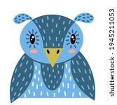 hand drawn vector owl. cartoon...   Shutterstock .eps vector #1945211053