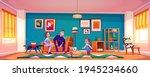 parents present cat to little... | Shutterstock .eps vector #1945234660