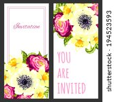 set of invitations with floral... | Shutterstock .eps vector #194523593