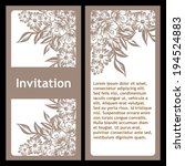 set of invitations with floral... | Shutterstock . vector #194524883