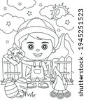 coloring page of cartoon boy... | Shutterstock .eps vector #1945251523