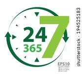 vector   green 24 7 365 with... | Shutterstock .eps vector #194525183