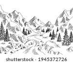 mountain valley river graphic... | Shutterstock .eps vector #1945372726