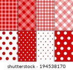 Set of seamless jumbo and small polka dots, checkered textile with large and small lines, and diagonal stripes in dark red, light red and white color. Vector art image illustration background  - stock vector