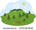 pig walks near mountain with...   Shutterstock .eps vector #1945382830