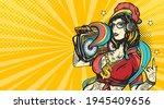 hip hop girl. pop art retro...   Shutterstock .eps vector #1945409656