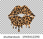 Kissing Lips With Leopard Print ...