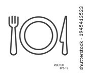 fork  plate and knife flat icon....   Shutterstock .eps vector #1945413523
