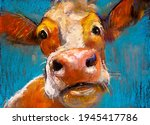 Cow Pastel Portrait. Modern...