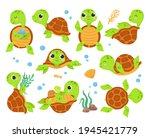 cartoon turtles. animal... | Shutterstock .eps vector #1945421779