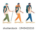 Vector Set Of Young Men With...