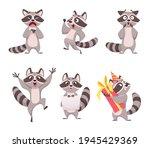 raccoon characters. cartoon... | Shutterstock .eps vector #1945429369