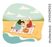 old people romantic picnic....