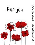 Postcard With Red Flower...