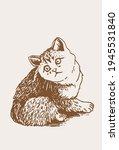 vector cat on sepia background  ... | Shutterstock .eps vector #1945531840