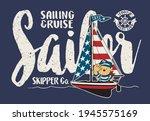 cute sailor bear on a sailboat... | Shutterstock .eps vector #1945575169