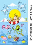 summer time at sea with dolphin   Shutterstock .eps vector #194557613